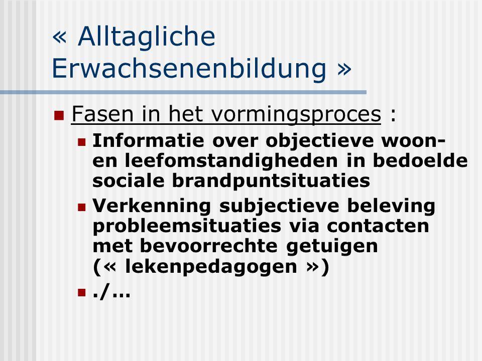 « Alltagliche Erwachsenenbildung » Fasen in het vormingsproces : Informatie over objectieve woon- en leefomstandigheden in bedoelde sociale brandpunts