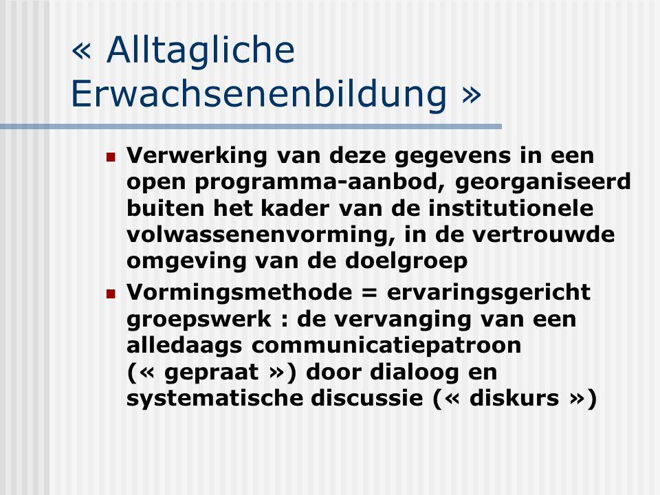« Alltagliche Erwachsenenbildung » Verwerking van deze gegevens in een open programma-aanbod, georganiseerd buiten het kader van de institutionele vol