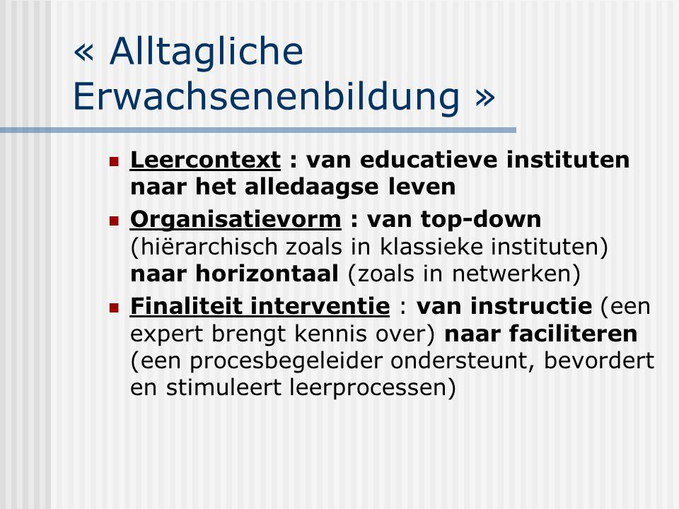 « Alltagliche Erwachsenenbildung » Leercontext : van educatieve instituten naar het alledaagse leven Organisatievorm : van top-down (hiërarchisch zoal