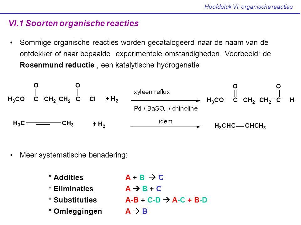 Hoofdstuk VI: organische reacties VI.1 Soorten organische reacties Sommige organische reacties worden gecatalogeerd naar de naam van de ontdekker of n