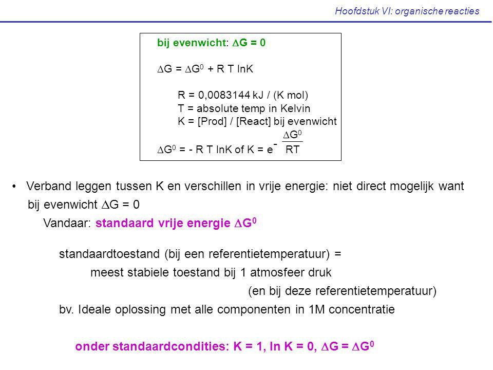 Hoofdstuk VI: organische reacties Verband leggen tussen K en verschillen in vrije energie: niet direct mogelijk want bij evenwicht  G = 0 Vandaar: st