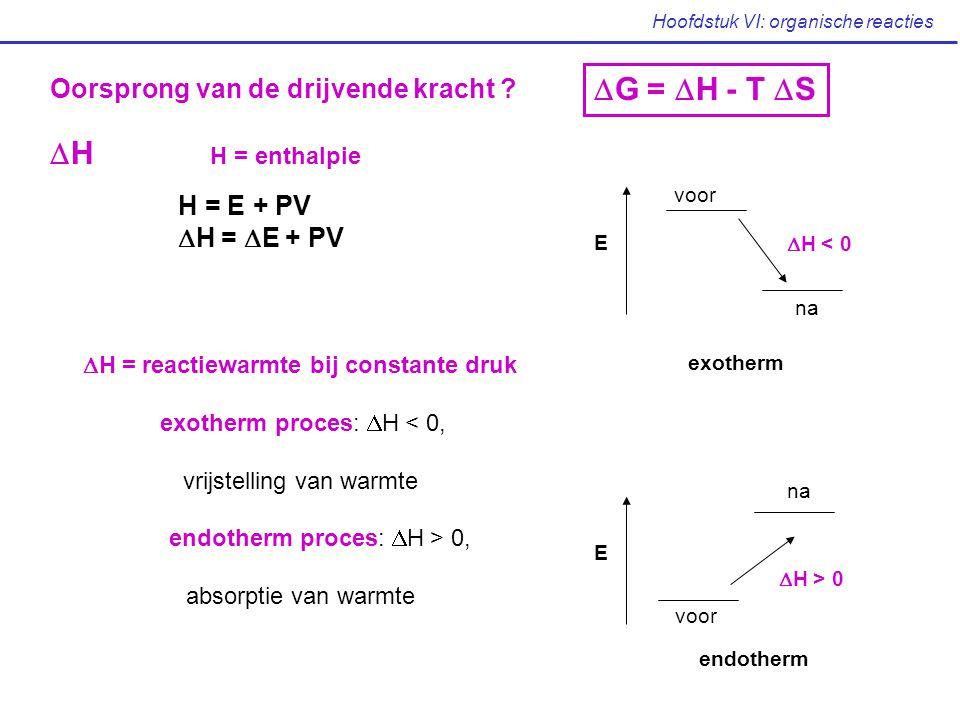 Hoofdstuk VI: organische reacties Oorsprong van de drijvende kracht ? H = E + PV  H =  E + PV E voor na  H < 0 exotherm E voor na  H > 0 endotherm