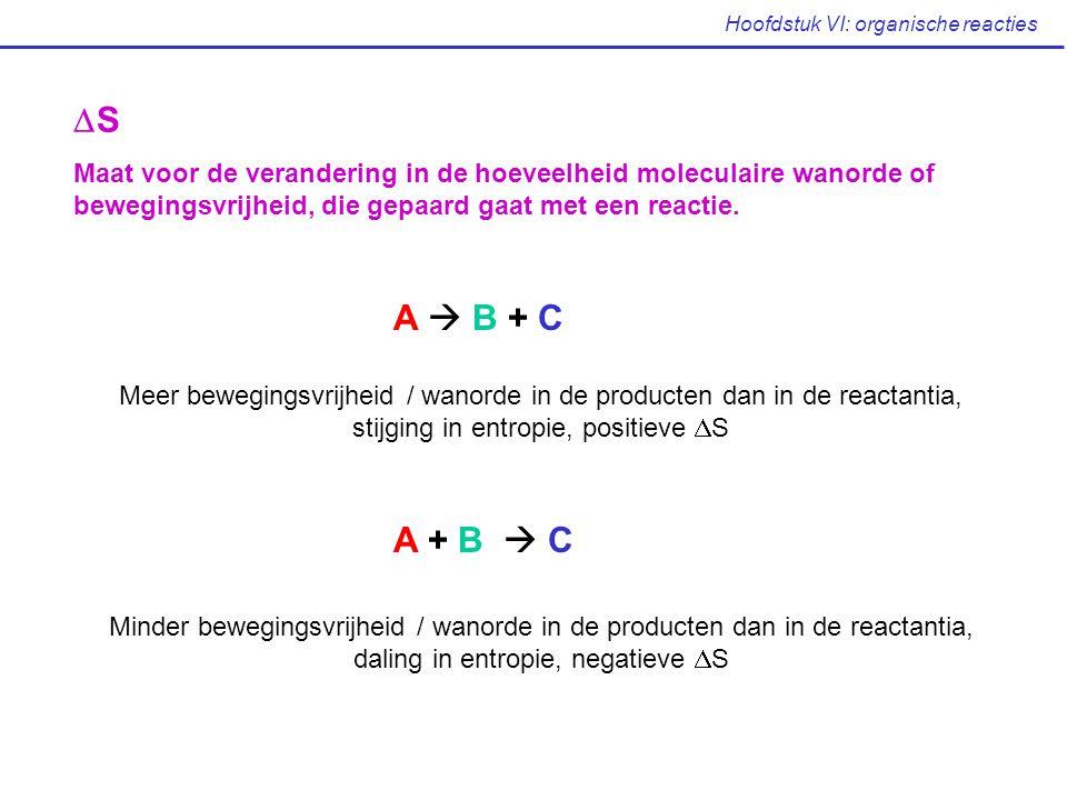 Hoofdstuk VI: organische reacties SS Maat voor de verandering in de hoeveelheid moleculaire wanorde of bewegingsvrijheid, die gepaard gaat met een r