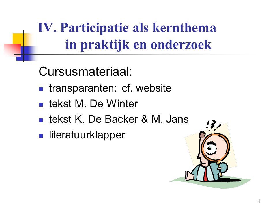 1 IV. Participatie als kernthema in praktijk en onderzoek Cursusmateriaal: transparanten: cf. website tekst M. De Winter tekst K. De Backer & M. Jans