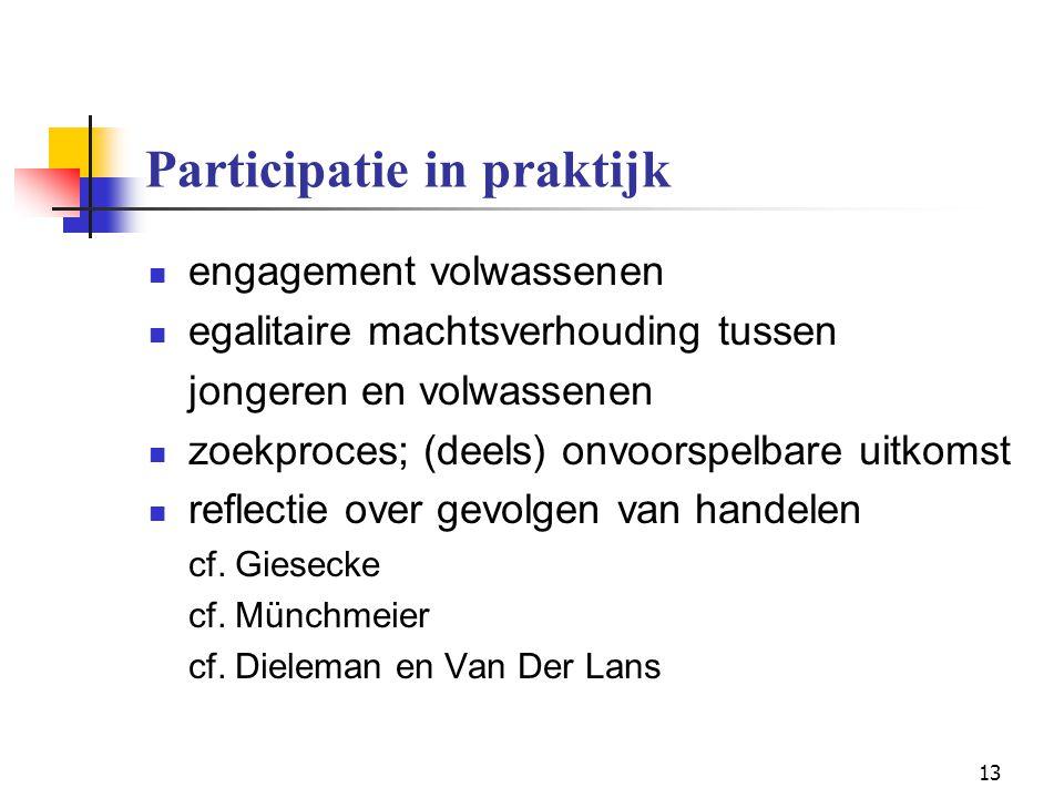 13 Participatie in praktijk engagement volwassenen egalitaire machtsverhouding tussen jongeren en volwassenen zoekproces; (deels) onvoorspelbare uitko