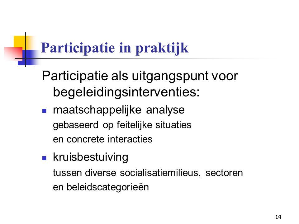 14 Participatie in praktijk Participatie als uitgangspunt voor begeleidingsinterventies: maatschappelijke analyse gebaseerd op feitelijke situaties en