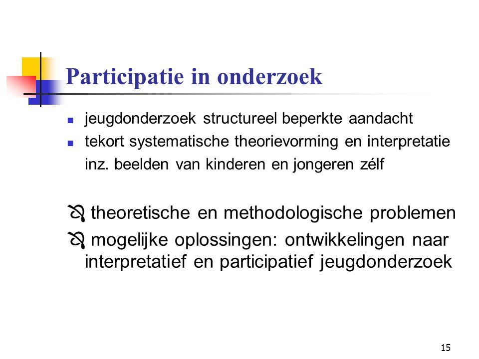15 Participatie in onderzoek jeugdonderzoek structureel beperkte aandacht tekort systematische theorievorming en interpretatie inz. beelden van kinder