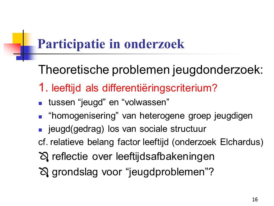 """16 Participatie in onderzoek Theoretische problemen jeugdonderzoek: 1. leeftijd als differentiëringscriterium? tussen """"jeugd"""" en """"volwassen"""" """"homogeni"""