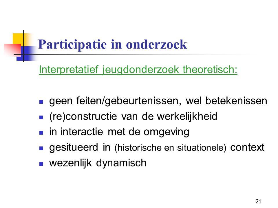 21 Participatie in onderzoek Interpretatief jeugdonderzoek theoretisch: geen feiten/gebeurtenissen, wel betekenissen (re)constructie van de werkelijkh