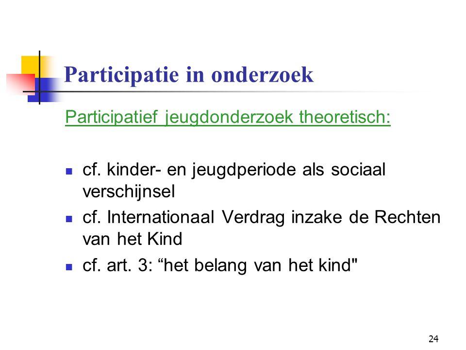 24 Participatie in onderzoek Participatief jeugdonderzoek theoretisch: cf. kinder- en jeugdperiode als sociaal verschijnsel cf. Internationaal Verdrag