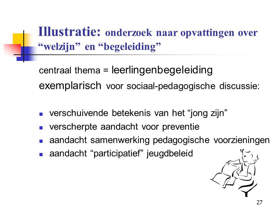 """27 Illustratie: onderzoek naar opvattingen over """"welzijn"""" en """"begeleiding"""" centraal thema = leerlingenbegeleiding exemplarisch voor sociaal-pedagogisc"""