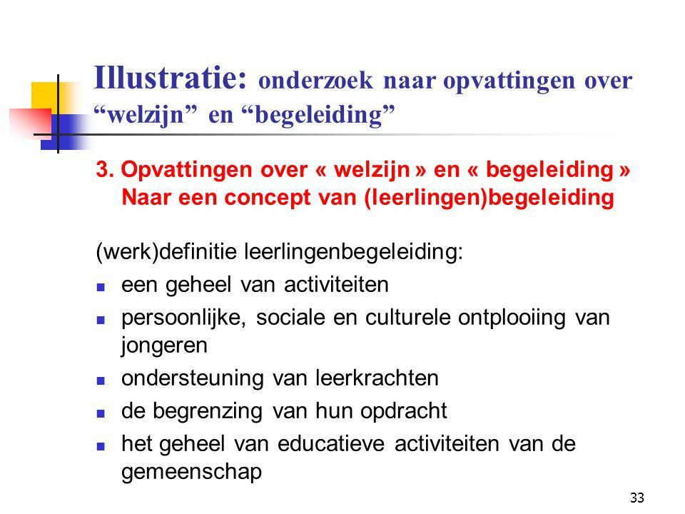 """33 Illustratie: onderzoek naar opvattingen over """"welzijn"""" en """"begeleiding"""" 3. Opvattingen over « welzijn » en « begeleiding » Naar een concept van (le"""