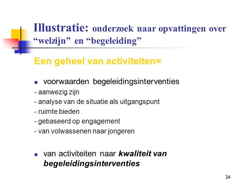 """34 Illustratie: onderzoek naar opvattingen over """"welzijn"""" en """"begeleiding"""" Een geheel van activiteiten= voorwaarden begeleidingsinterventies - aanwezi"""