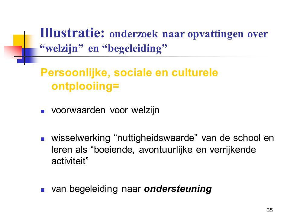 """35 Illustratie: onderzoek naar opvattingen over """"welzijn"""" en """"begeleiding"""" Persoonlijke, sociale en culturele ontplooiing= voorwaarden voor welzijn wi"""