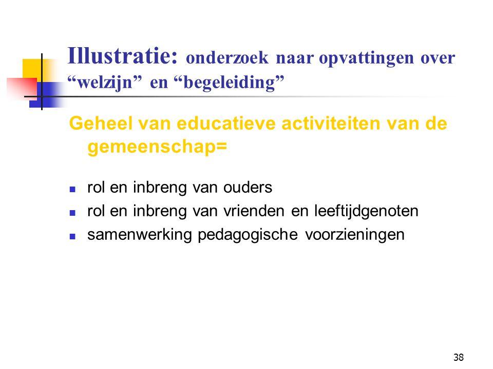 """38 Illustratie: onderzoek naar opvattingen over """"welzijn"""" en """"begeleiding"""" Geheel van educatieve activiteiten van de gemeenschap= rol en inbreng van o"""