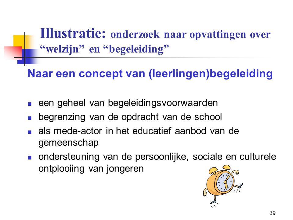 """39 Illustratie: onderzoek naar opvattingen over """"welzijn"""" en """"begeleiding"""" Naar een concept van (leerlingen)begeleiding een geheel van begeleidingsvoo"""