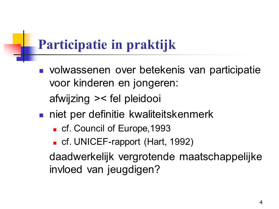 25 Participatie in onderzoek Participatief jeugdonderzoek methodologisch: volwaardige of gelijkwaardige info-bron (cf.