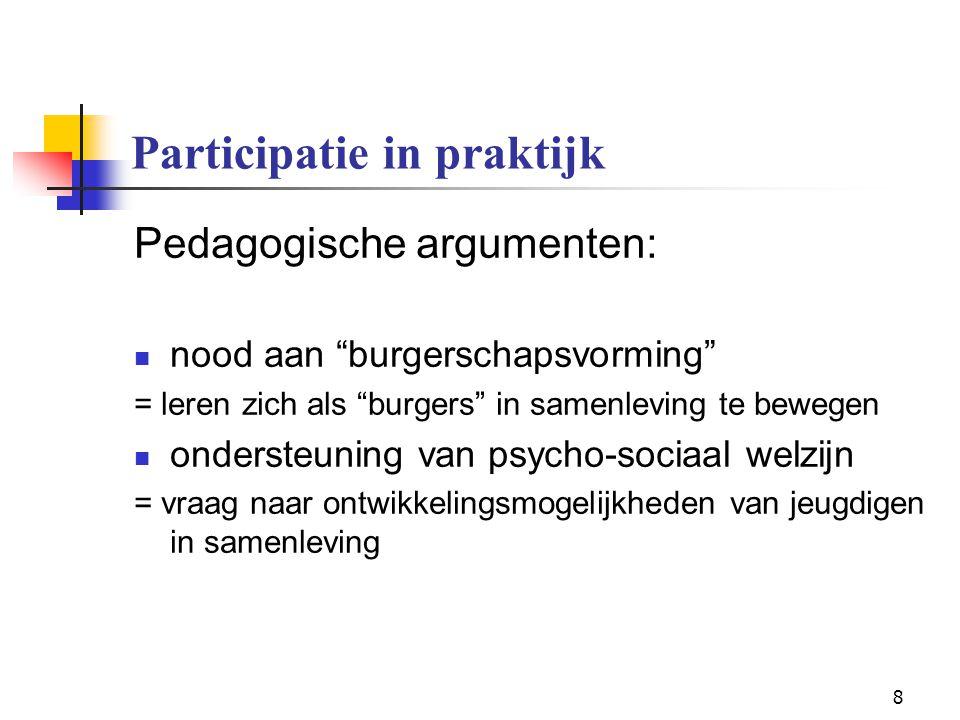 """8 Participatie in praktijk Pedagogische argumenten: nood aan """"burgerschapsvorming"""" = leren zich als """"burgers"""" in samenleving te bewegen ondersteuning"""