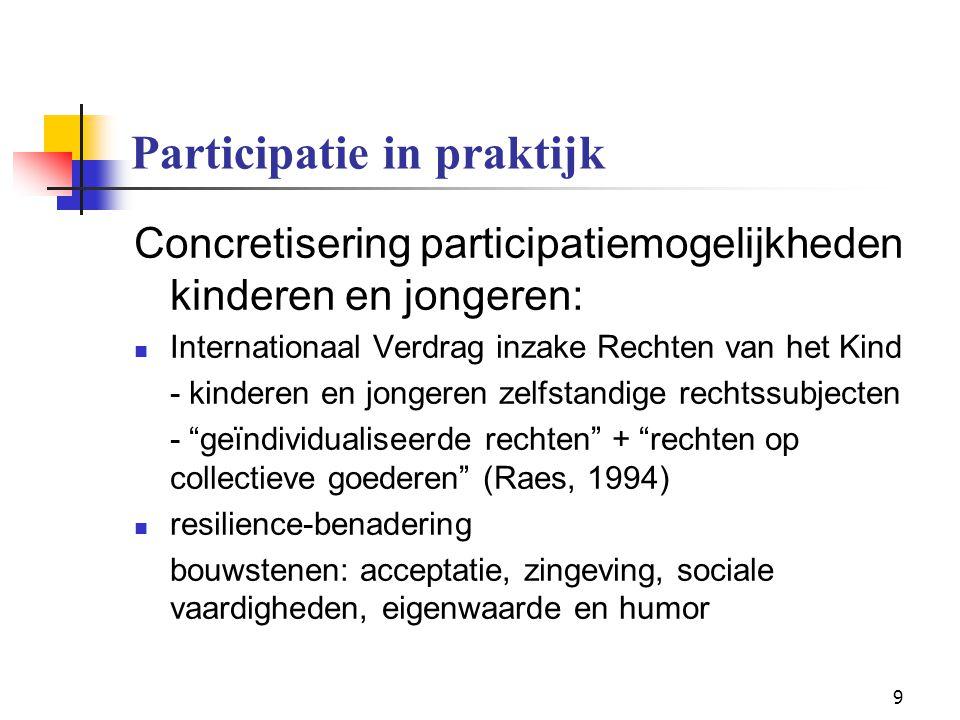 10 Participatie in praktijk criteria optimale ontwikkelingsomgeving (Bartels & Heiner, 1994): adequate verzorging; veilige fysieke omgeving; continuïteit en stabiliteit; interesse; respect; geborgenheid, steun en begrip van volwassene; ondersteunende, flexibele structuur, aangepast aan de jeugdige; veiligheid; adequate voorbeelden; educatie; omgang met leeftijdgenoten in gevarieerde situaties; kennis over en contact met eigen verleden .