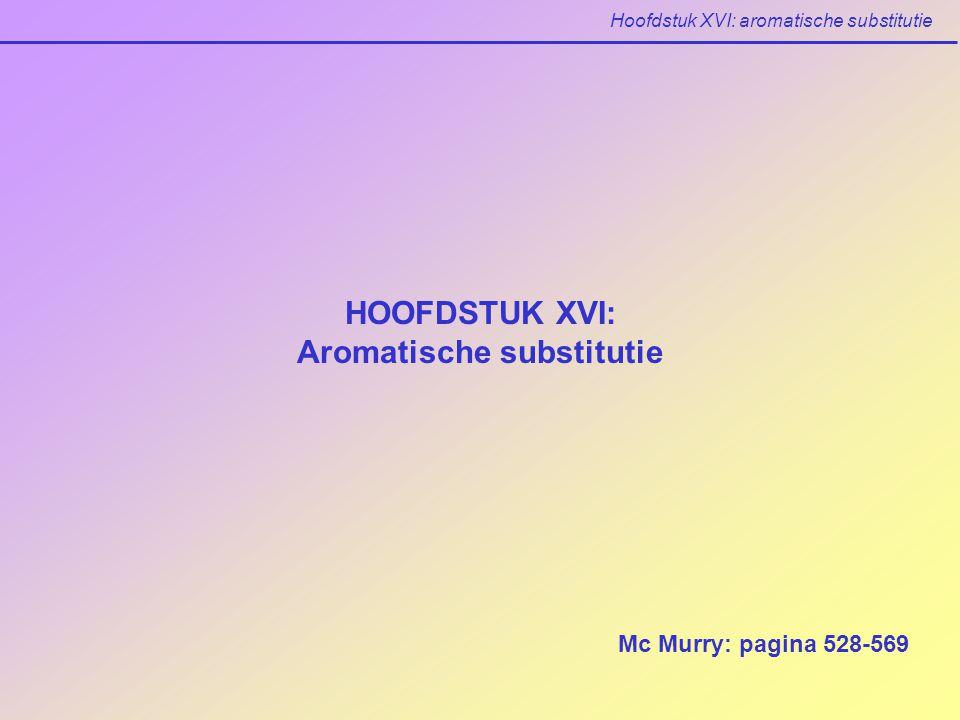 Hoofdstuk XVI: aromatische substitutie XVI.6 Een verklaring voor substituent effecten (Mc Murry: p 543-548) Activering en desactivering van aromatische ringen Y is een elektrondonor: carbokation meer gestabiliseerd ring meer reactief Y is een elektronacceptor: carbokation minder gestabiliseerd ring minder reactief reactiviteit