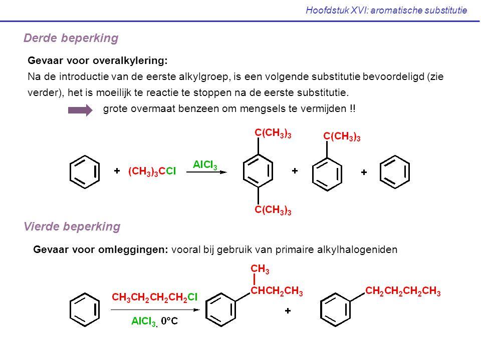 Hoofdstuk XVI: aromatische substitutie Derde beperking Gevaar voor overalkylering: Na de introductie van de eerste alkylgroep, is een volgende substit