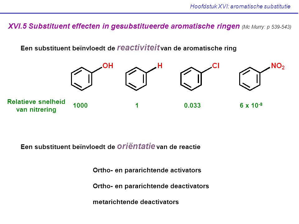 Hoofdstuk XVI: aromatische substitutie XVI.5 Substituent effecten in gesubstitueerde aromatische ringen (Mc Murry: p 539-543) Een substituent beïnvloe