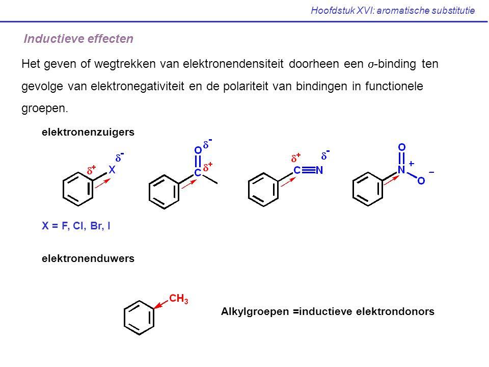 Hoofdstuk XVI: aromatische substitutie Inductieve effecten Het geven of wegtrekken van elektronendensiteit doorheen een  -binding ten gevolge van ele