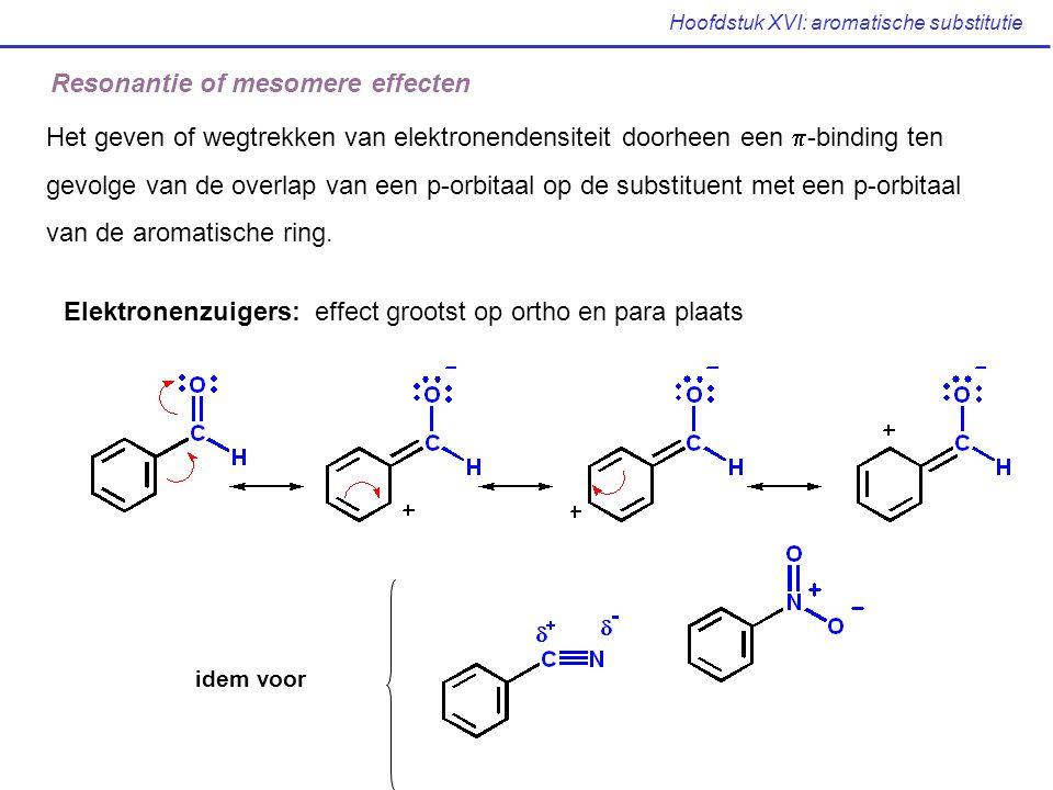 Hoofdstuk XVI: aromatische substitutie Resonantie of mesomere effecten Het geven of wegtrekken van elektronendensiteit doorheen een  -binding ten gev