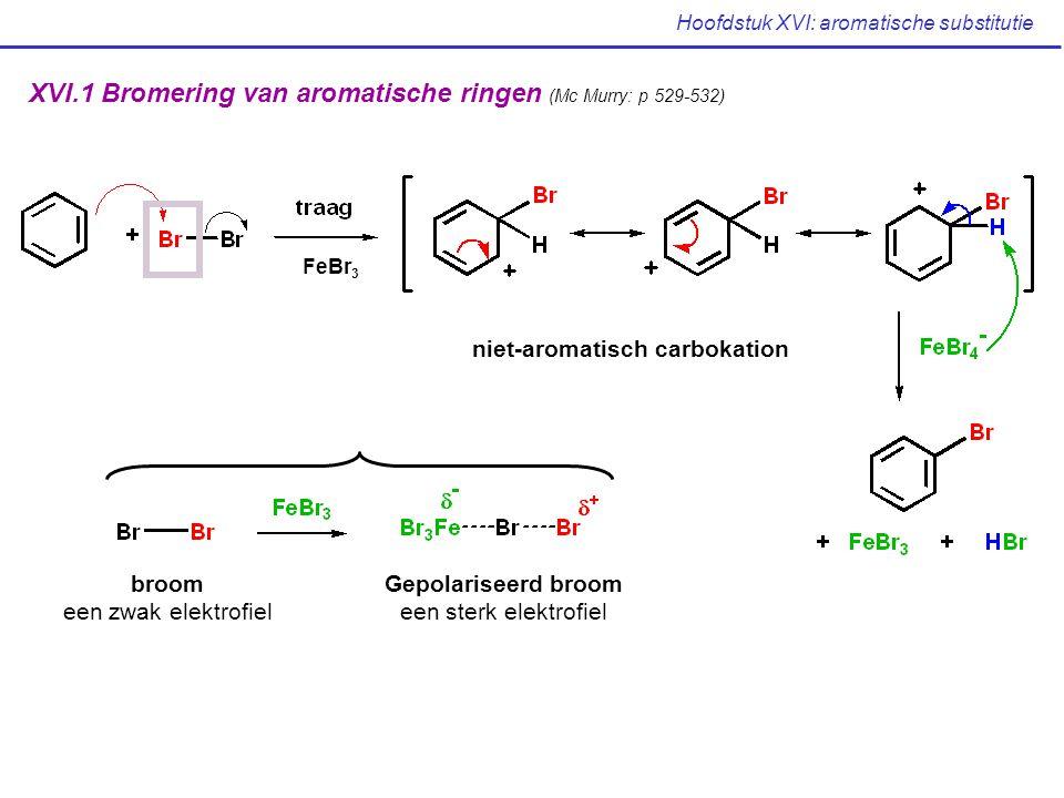 Hoofdstuk XVI: aromatische substitutie FeBr 3 XVI.1 Bromering van aromatische ringen (Mc Murry: p 529-532) broom een zwak elektrofiel Gepolariseerd br