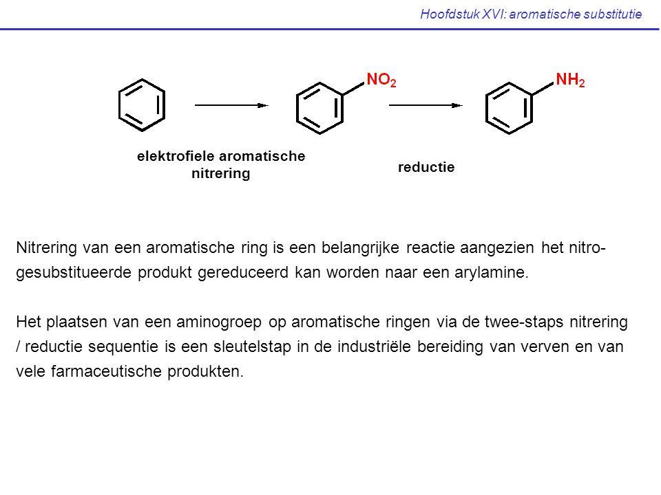 Hoofdstuk XVI: aromatische substitutie Nitrering van een aromatische ring is een belangrijke reactie aangezien het nitro- gesubstitueerde produkt gere