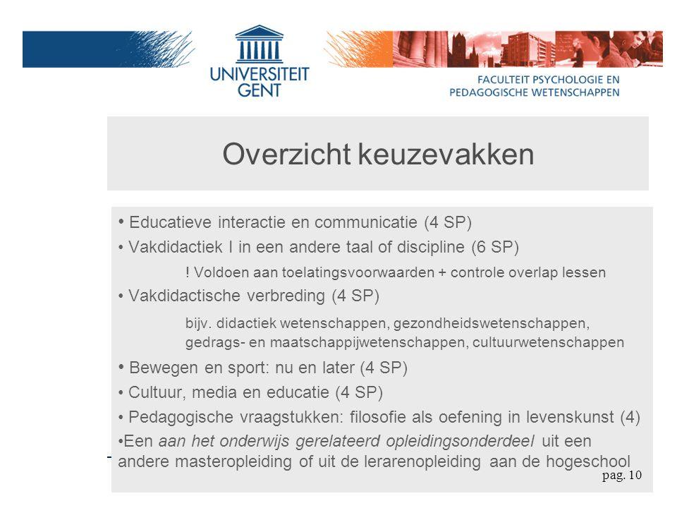 Overzicht keuzevakken Educatieve interactie en communicatie (4 SP) Vakdidactiek I in een andere taal of discipline (6 SP) .