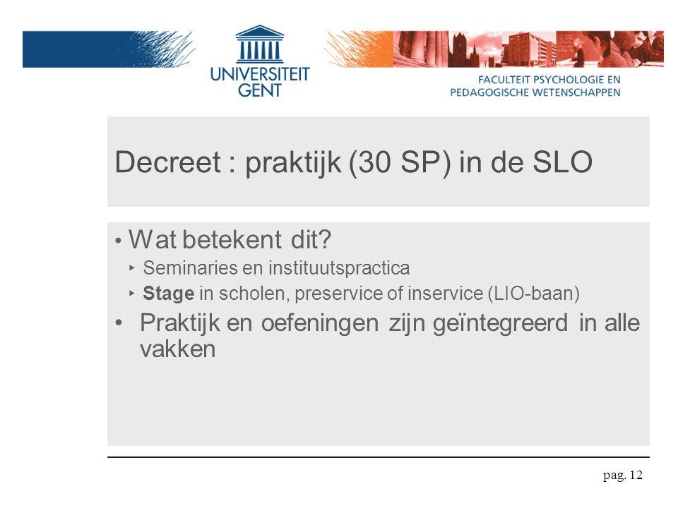 Decreet : praktijk (30 SP) in de SLO Wat betekent dit? ‣ Seminaries en instituutspractica ‣ Stage in scholen, preservice of inservice (LIO-baan) Prakt