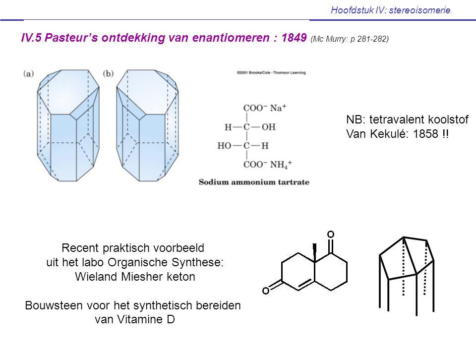 Hoofdstuk IV: stereoisomerie IV.5 Pasteur's ontdekking van enantiomeren : 1849 (Mc Murry: p 281-282) NB: tetravalent koolstof Van Kekulé: 1858 !! Rece