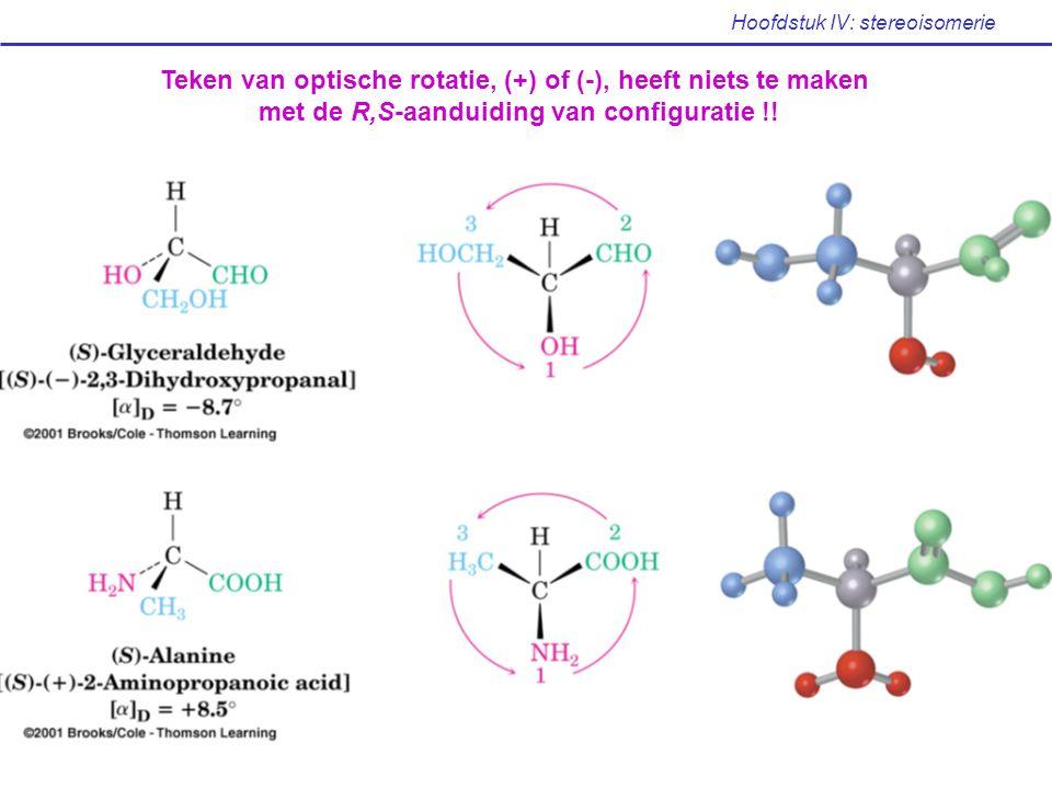 Hoofdstuk IV: stereoisomerie Teken van optische rotatie, (+) of (-), heeft niets te maken met de R,S-aanduiding van configuratie !!