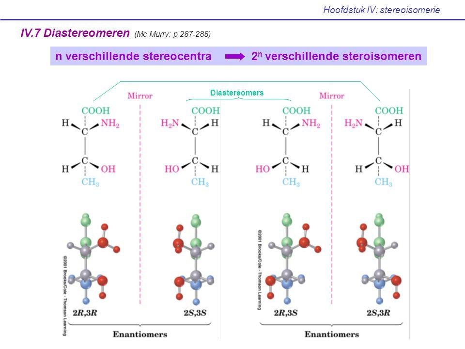 Hoofdstuk IV: stereoisomerie IV.7 Diastereomeren (Mc Murry: p 287-288) n verschillende stereocentra 2 n verschillende steroisomeren Diastereomers