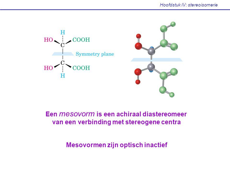 Hoofdstuk IV: stereoisomerie Een mesovorm is een achiraal diastereomeer van een verbinding met stereogene centra Mesovormen zijn optisch inactief