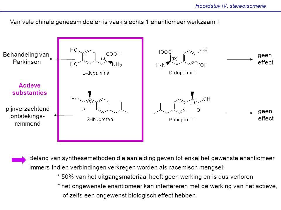 Hoofdstuk IV: stereoisomerie Actieve substanties Behandeling van Parkinson geen effect pijnverzachtend ontstekings- remmend geen effect Van vele chira