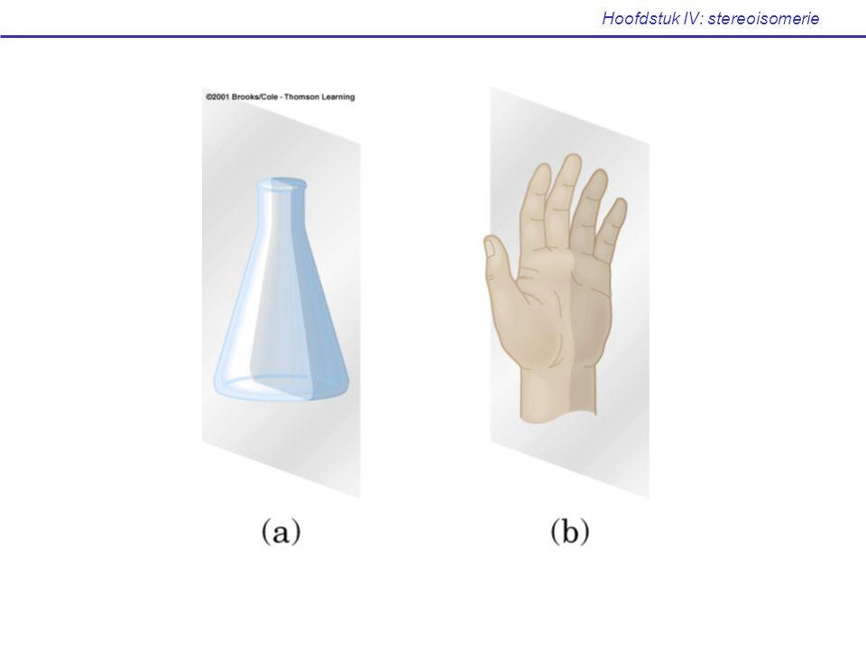 IV.2 Chiraliteit (Mc Murry: p 277-279) Een molecule is niet chiraal wanneer er een spiegelvlak aanwezig is