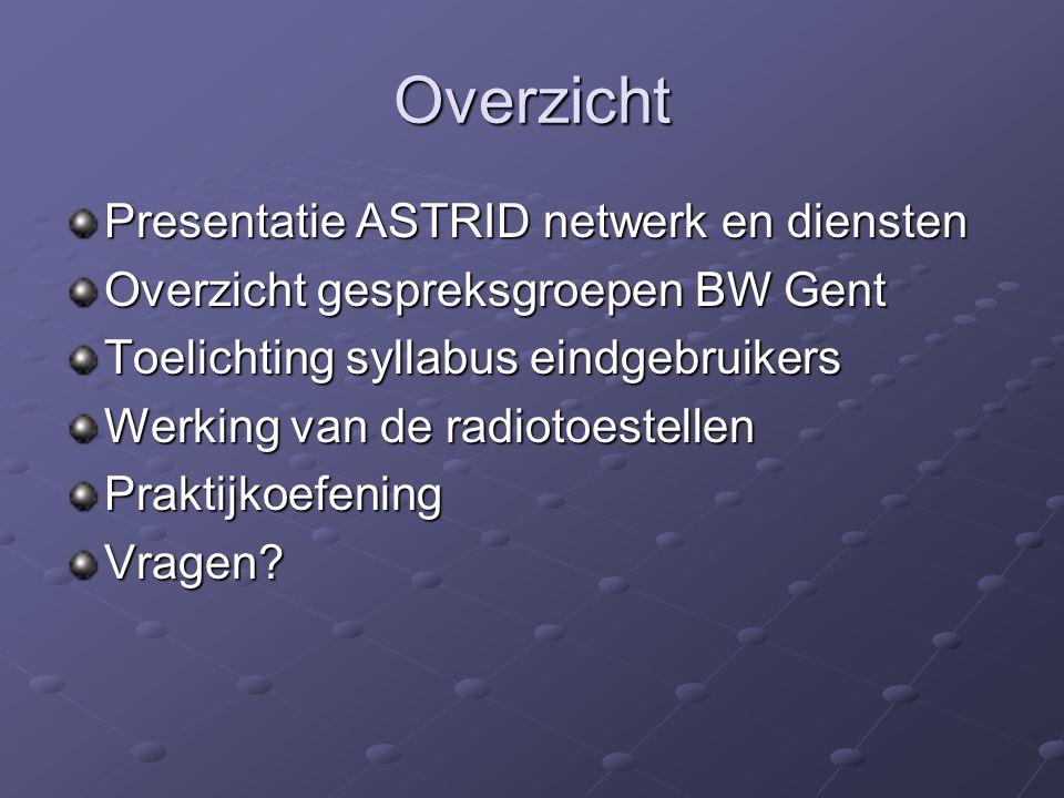 Overzicht Presentatie ASTRID netwerk en diensten Overzicht gespreksgroepen BW Gent Toelichting syllabus eindgebruikers Werking van de radiotoestellen PraktijkoefeningVragen?