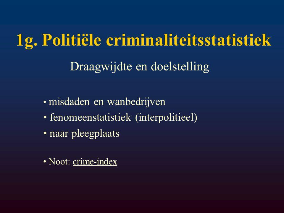 1g. Politiële criminaliteitsstatistiek Draagwijdte en doelstelling misdaden en wanbedrijven fenomeenstatistiek (interpolitieel) naar pleegplaats Noot: