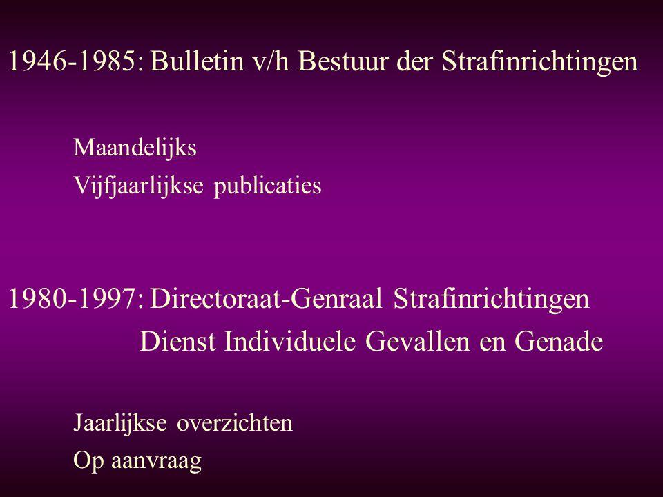 1980-1997: Directoraat-Genraal Strafinrichtingen Dienst Individuele Gevallen en Genade Jaarlijkse overzichten Op aanvraag 1946-1985: Bulletin v/h Bestuur der Strafinrichtingen Maandelijks Vijfjaarlijkse publicaties
