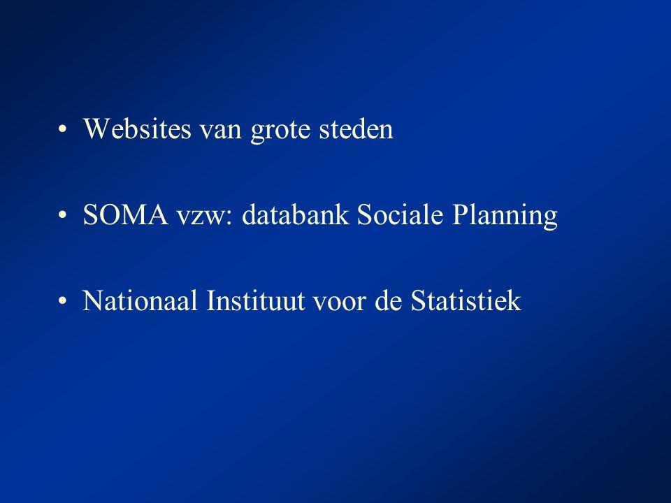 Websites van grote steden SOMA vzw: databank Sociale Planning Nationaal Instituut voor de Statistiek