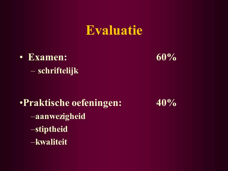 Evaluatie Examen:60% –schriftelijk Praktische oefeningen: 40% –aanwezigheid –stiptheid –kwaliteit