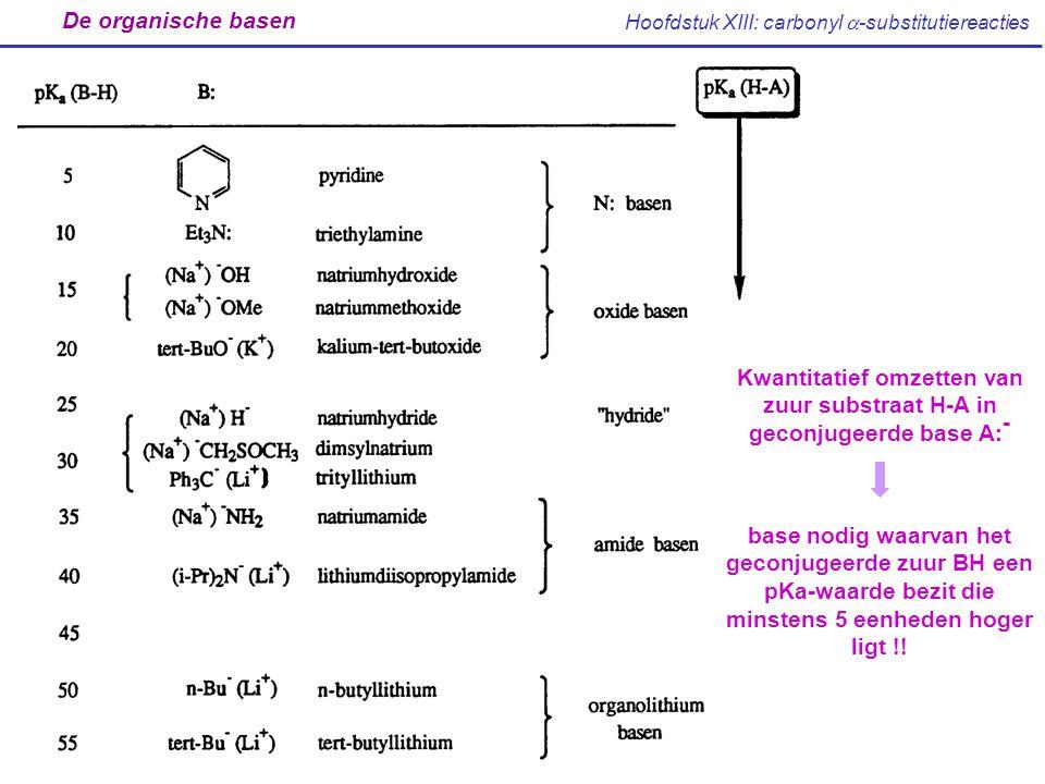 Hoofdstuk XIII: carbonyl  -substitutiereacties De organische basen Kwantitatief omzetten van zuur substraat H-A in geconjugeerde base A: - base nodig