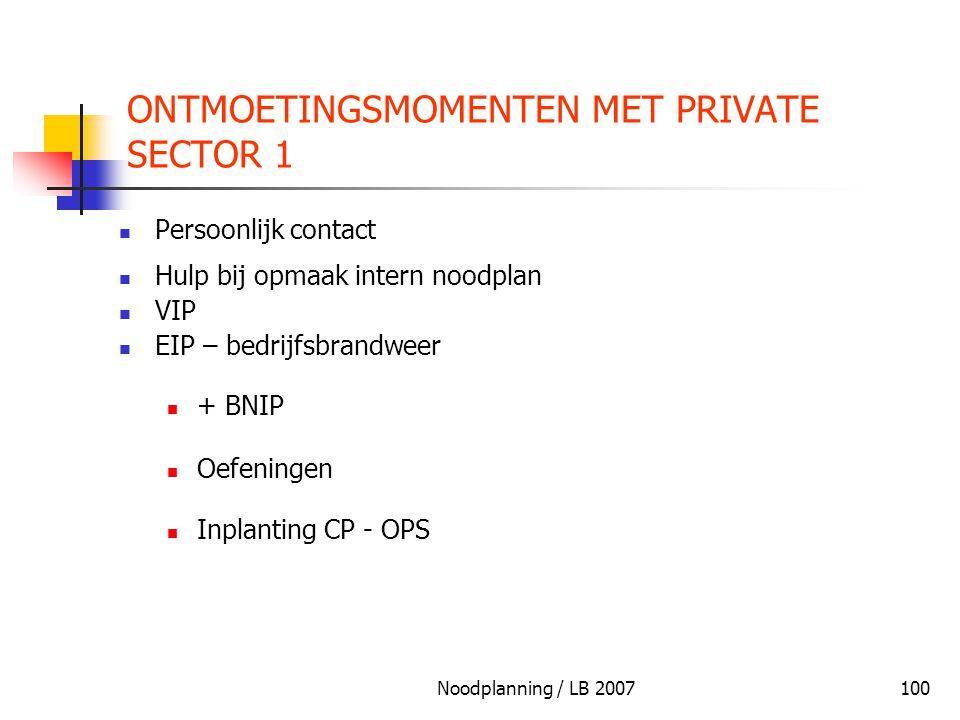 Noodplanning / LB 2007100 ONTMOETINGSMOMENTEN MET PRIVATE SECTOR 1 Persoonlijk contact Hulp bij opmaak intern noodplan VIP EIP – bedrijfsbrandweer + B