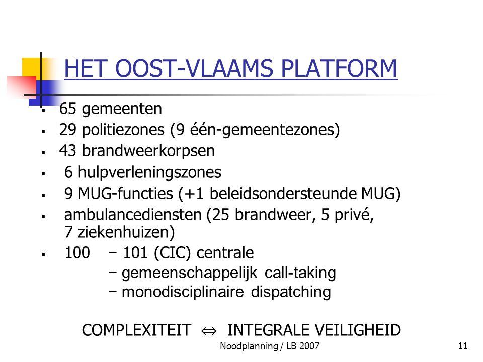 Noodplanning / LB 200711 HET OOST-VLAAMS PLATFORM  65 gemeenten  29 politiezones (9 één-gemeentezones)  43 brandweerkorpsen  6 hulpverleningszones