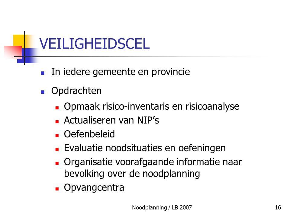 Noodplanning / LB 200716 VEILIGHEIDSCEL In iedere gemeente en provincie Opdrachten Opmaak risico-inventaris en risicoanalyse Actualiseren van NIP's Oe