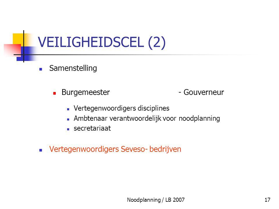 Noodplanning / LB 200717 VEILIGHEIDSCEL (2) Samenstelling Burgemeester- Gouverneur Vertegenwoordigers disciplines Ambtenaar verantwoordelijk voor nood