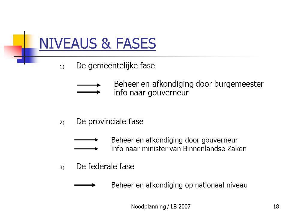 Noodplanning / LB 200718 NIVEAUS & FASES 1) De gemeentelijke fase Beheer en afkondiging door burgemeester info naar gouverneur 2) De provinciale fase