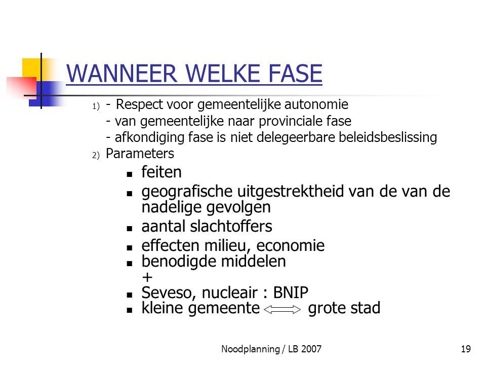 Noodplanning / LB 200719 WANNEER WELKE FASE 1) - Respect voor gemeentelijke autonomie - van gemeentelijke naar provinciale fase - afkondiging fase is